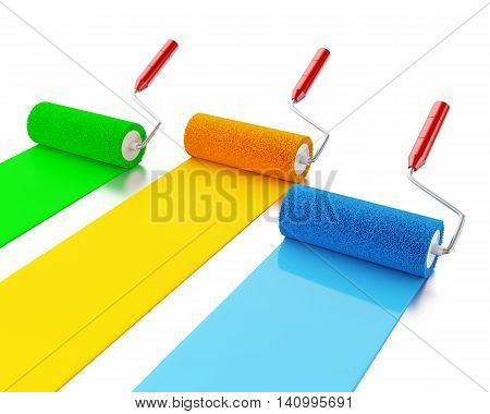 3d renderer image. Paint rollers with colours blue green and yellow. Isolated white background.