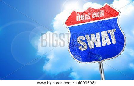 swat, 3D rendering, blue street sign