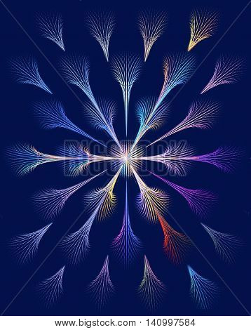 Colorful abstract fractal fireworks. Computer generated image.
