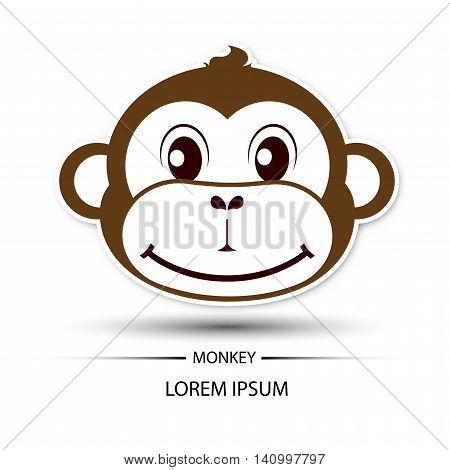 Monkey face beatific smile logo and white background vector illustration