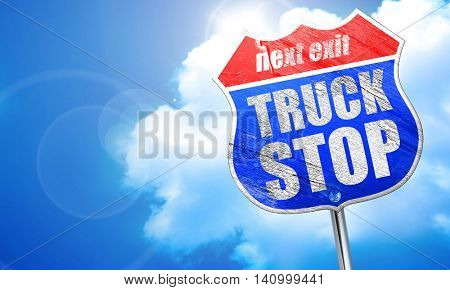 truck stop, 3D rendering, blue street sign