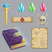 Collection of items to cast a magic spell. Wizard accessories for making magical tricks, ancient book of dead shadows, witch wand, shiny gemstones, scull and sealed manuscript. Game and app ui icons. poster