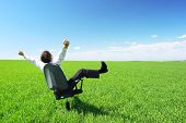 Happy businessman on chair in green field poster