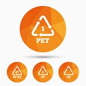 PET 1, PP-pe 07, PP 5 and PE icons. High-density Polyethylene terephthalate sign. Recycling symbol. Triangular low poly buttons with shadow. Vector poster