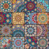 Boho tile set and seamless pattern. Blue orange patchwork fabric, furniture print, wallpaper, fashionable textile. Square design elements. Unusual flower ornament. Vector oriental mandala background. poster