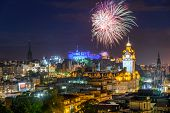 Dramatic firework display over Edinburgh during the Fringe festival. poster