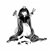 Princess with long hair has cut bangs. Hand drawing isolated objects on white background. Vector illustration. poster