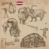 Latvia. Republic of Latvia. Vector pictures. Pictures of life and travel collection of an hand drawn illustrations. Pack of hand drawings. Set of freehand sketches. Line art technique. poster