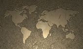 Engraved wood world map - 2d illustration poster