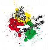 Vector illustration of rastaman playing acoustic guitar. Cute cartoon rastafarian guy with dreadlocks wearing red shirt yellow pants rasta hat. Isolated on a white background. poster