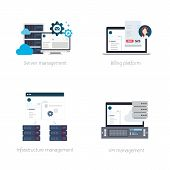 Set of Vector Illustrations or Icons of Software Products for Hosting Providers Including Billing, Virtual Private Server or VPS, Hosting and DCI Management Tools poster