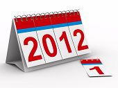 2012 year calendar on white background. Isolated 3D image poster