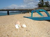 Beach objects on a hot sunny day poster