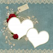 Vintage elegant hearts frame with roses lace and pearls poster