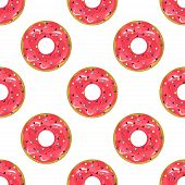 Cute donuts with colorful glazing seamless pattern. Seamless background of colorful donuts glazed. donut Vector sweet food texture cake dessert sugar cream pastry dessert bakery. poster