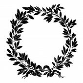 Vintage floral wreath. Decorative floral wreath,  round wreath, plant wreath, laurel wreath, sketch wreath, garland wreath, prize wreath, medal wreath. Vector. poster