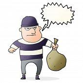 freehand drawn speech bubble cartoon burglar with loot bag poster