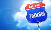 taoism, 3D rendering, blue street sign poster