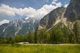 Mountain pass Vrsic near Kranjska gora in Slovenia