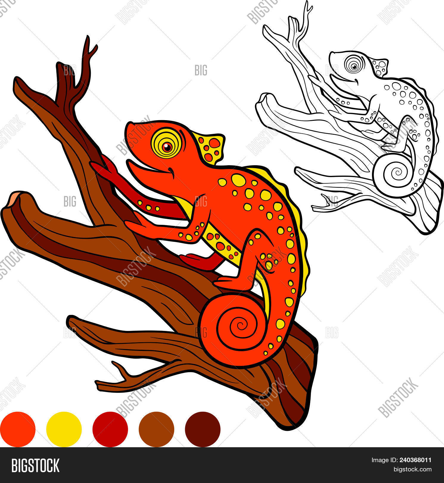Coloring Page Color Me Chameleon Little Cute Orange Chameleon Sits On The Tree
