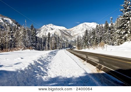 Snow Covered Mountain With Road