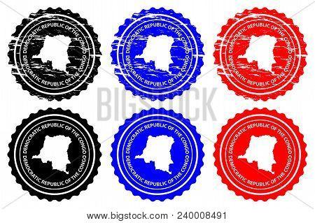 Democratic Republic Of The Congo - Rubber Stamp - Vector, Democratic Republic Of The Congo Map Patte