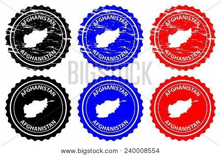 Afghanistan - Rubber Stamp - Vector, Afghanistan Map Pattern - Sticker - Black, Blue And Red