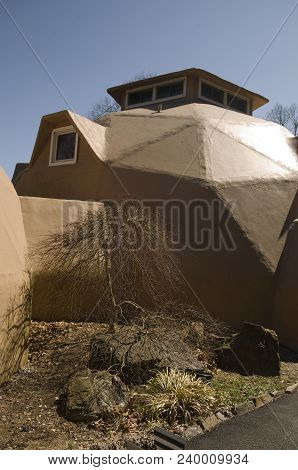 Geodesic Dome Residential House In Suburban Setting