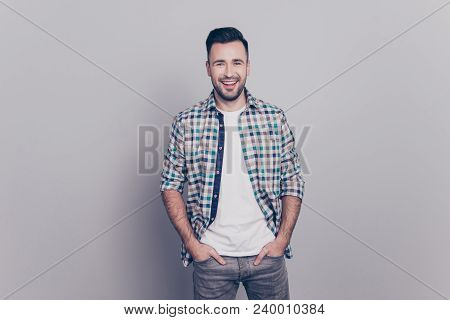 Portrait Of Cheerful, Attractive, Smiling Man Holding Hands In Pocket Of Jeans Looking At Camera Sta