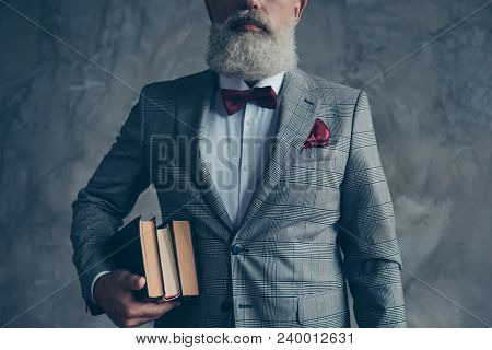 Cropped Close Up Portrait Of Intellectual Old-fhasioned Groomed Elegant Self-assured Elderly Scienti