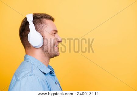 Close Up Profile With Copy Space Of Caucasion, Attractive Guy With Stubble And Headphones On Head, F