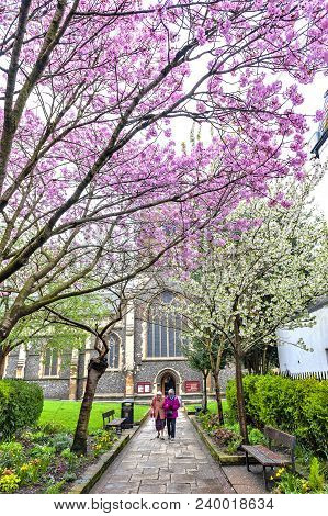 Kingston Upon Thames, United Kingdom - April 2018: Walkway To Historic All Saints Church Located At