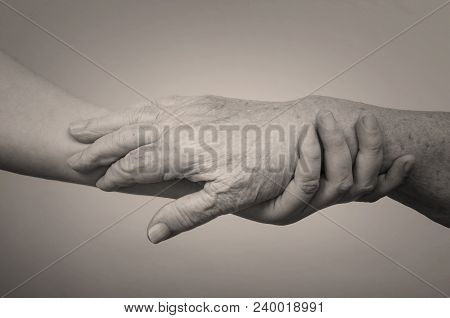 Closeup Of A Young Caucasian Man Holding The Hand Of An Old Caucasian Woman