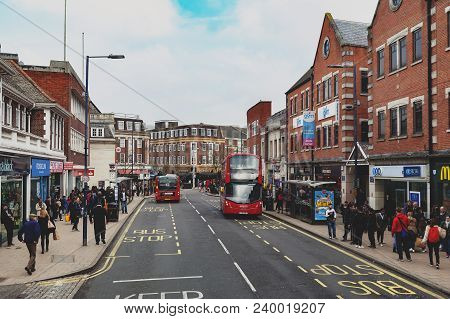 Kingston Upon Thames, United Kingdom - April 2018: Business And Shopping Area On Eden Street, Kingst