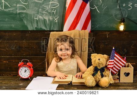 Student Woman Holding Usa Flag. Child And Demonstrating Openness Is Must For Tutor. Pupil Is Having