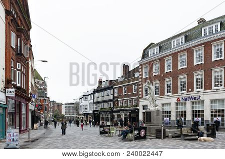 Kingston Upon Thames, United Kingdom - April 2018: Kingston Market Place, Town Centre With Lots Of S