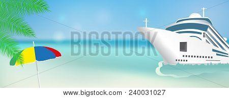 Cruise Ship Bon Voyage. Poster Or Banner Template Transatlantic Liner Ship. Vector Illustration.