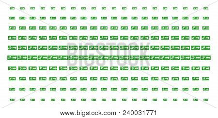 Emergency Exit Icon Halftone Pattern, Constructed For Backgrounds, Covers, Templates And Abstract Co
