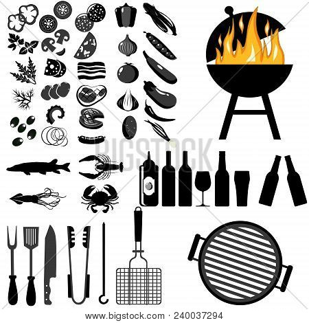 Grill, Barbecue Icon Set On White Background. Grilled Vegetables, Meat, Steak And Sausage. Bbq Grill