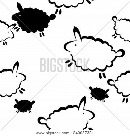Seamless Vector Print With Funny Sheeps In Black And White.