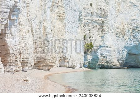 Vignanotica, Apulia, Italy - Giant Chalk Cliffs At The Beach Of Vignanotica