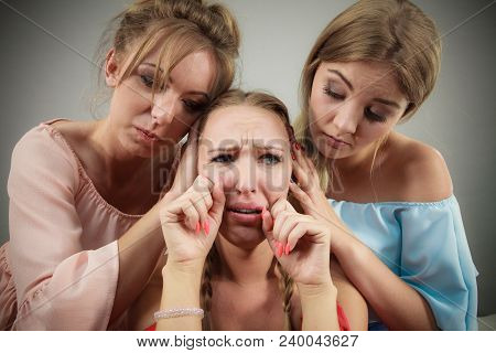 Woman Being Annoyed By Her Two Female Friends. Fake Friendship And Envy Problems.