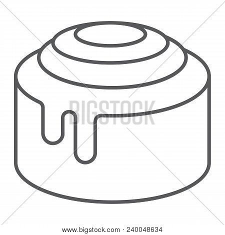Cinnamon Bun Roll Thin Line Icon, Sweet And Tasty, Dessert Sign Vector Graphics, A Linear Pattern On