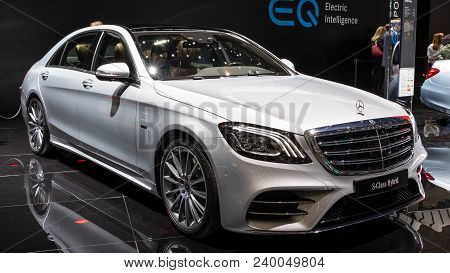 Geneva, Switzerland - March 7, 2018: New Mercedes Benz S-class Hybrid Car Presented At The 88th Gene