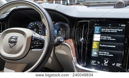 Geneva, Switzerland - March 7, 2018: Interior Drivers Dashboard Of The New Volvo V60 Car Showcased A