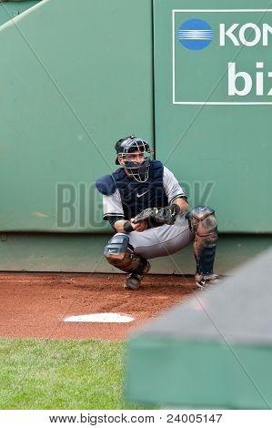 Boston - August 8: New York Yankees Catcher, #17, Francisco Cervelli Warms Up Before The Game On Aug