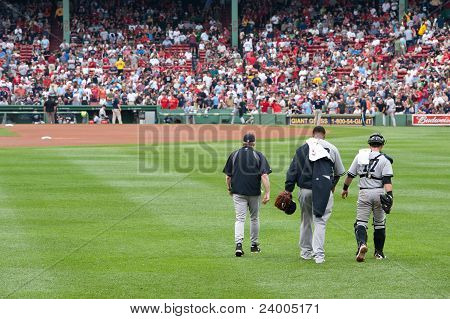 Boston - August 8: New York Yankees Starting Pitcher, #52, C.c. Sabathia And Catcher, #17, Francisco