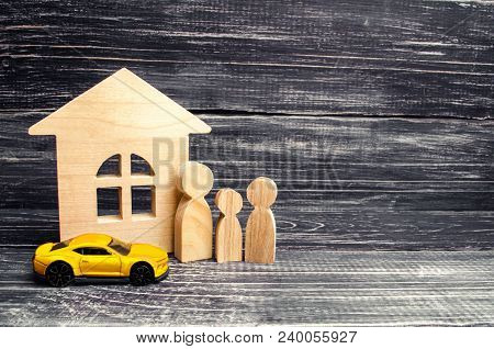 Family, Wooden House Model And Car. Buying And Selling Or Car Insurance. Business Success. Concept O