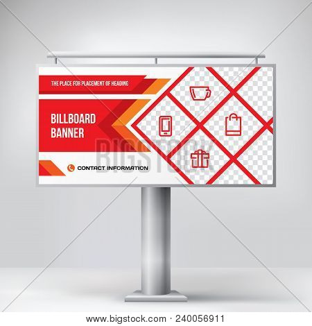 Billboard Design Outdoor Advertising Template Layout For Photo And Text Placement Creative Vector