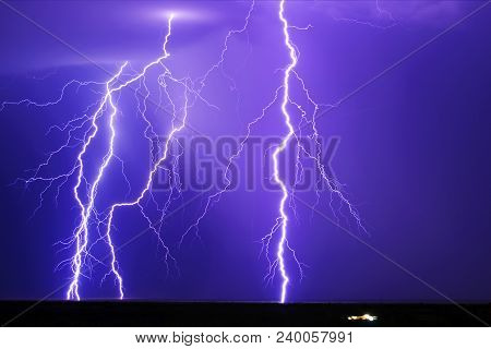 A Composite Image Of Multiple Lightning Strikes Near The Remote Town Of Tonopah Arizona During The 2